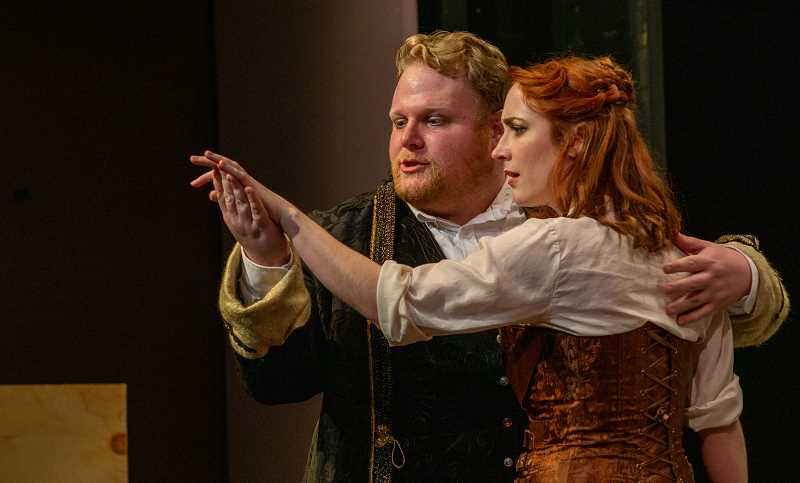 PHOTO CREDIT: BOB MORRISON - Sam Roberts (Demitrius) and Kelsey Ion (Helena) perform an intense scene in William Shakespeares A Midsummer Nights Dream.