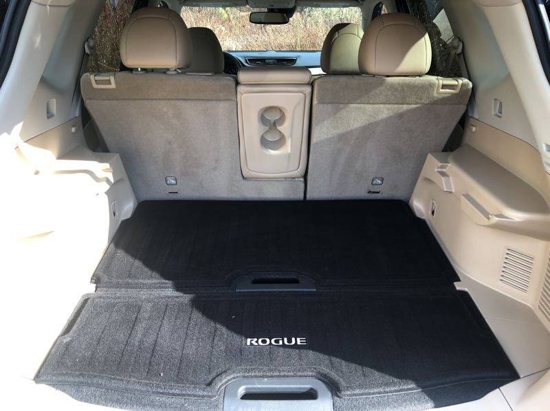 PMG PHOTO: JEFF ZURSCHMEIDE - The split rear seat in the 2020 Nissan Rogue can can be configured to create up to 70 cubic feet of cargo capacity.