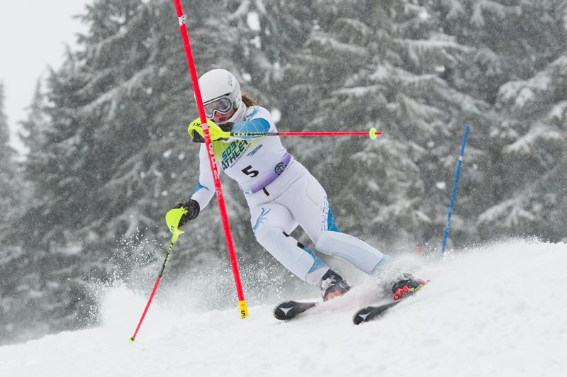 COURTESY PHOTO: MIKE JULIANA - Corin Hartnell finished in second place in the individual standings to help the Tigard girls take first place in the Metro League slalom event held Feb. 8.