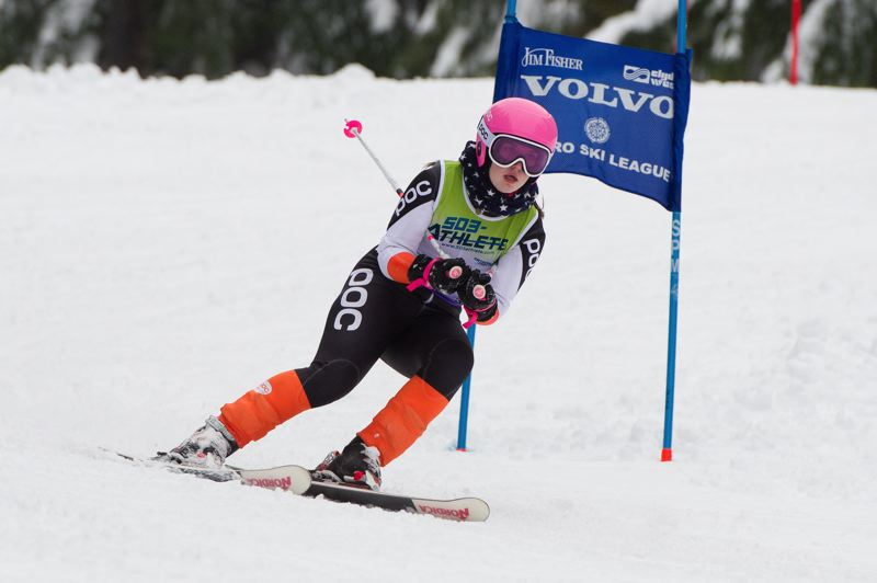 COURTESY PHOTO: MIKE JULIANA - Megan Wargo helped the Tigard High School girls ski team finish in first place in the Metro League slalom race held Feb. 8.