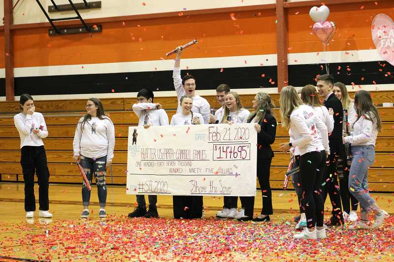 PMG PHOTO: KRISTEN WOHLERS - Student leaders react to the dollar amount on the big check at the Share the Love closing assembly on Friday, Feb. 21.