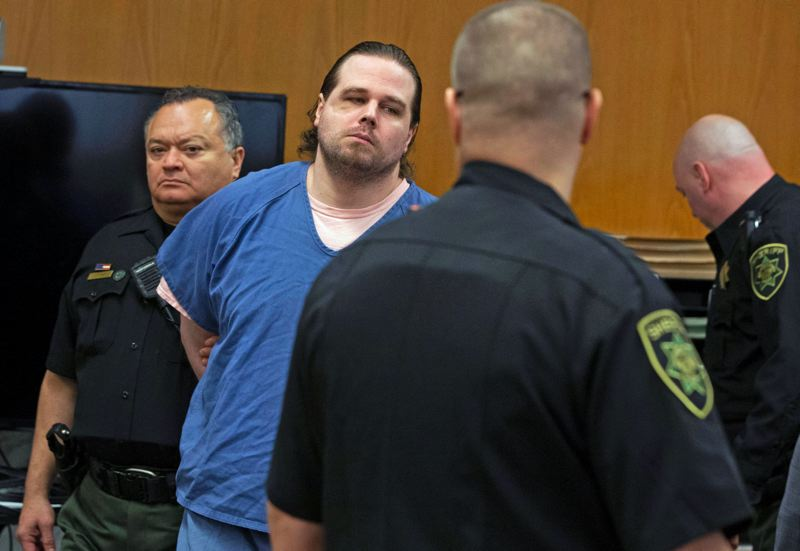 POOL PHOTO: BETH NAKAMURAH, OREGONIAN/OREGONLIVE - Jeremy Christian was found guilty on all 12 counts Friday, Feb. 21.