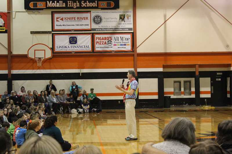 PMG PHOTO: KRISTEN WOHLERS - Joe Zenisek, Dr. Z, shares a few words to close the assembly Friday.