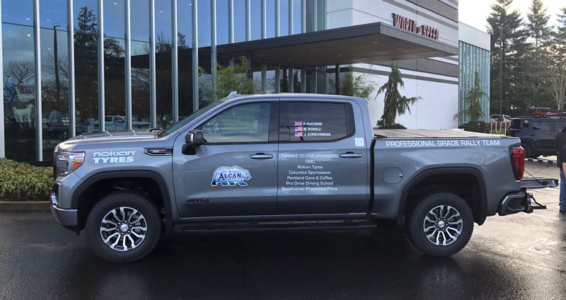 PMG PHOTO: JEFF ZURSCHMEIDE - The 2020 GMC Sierra AT4 pickup truck that is being driven in the current Alcan 5000 Winter Rally.