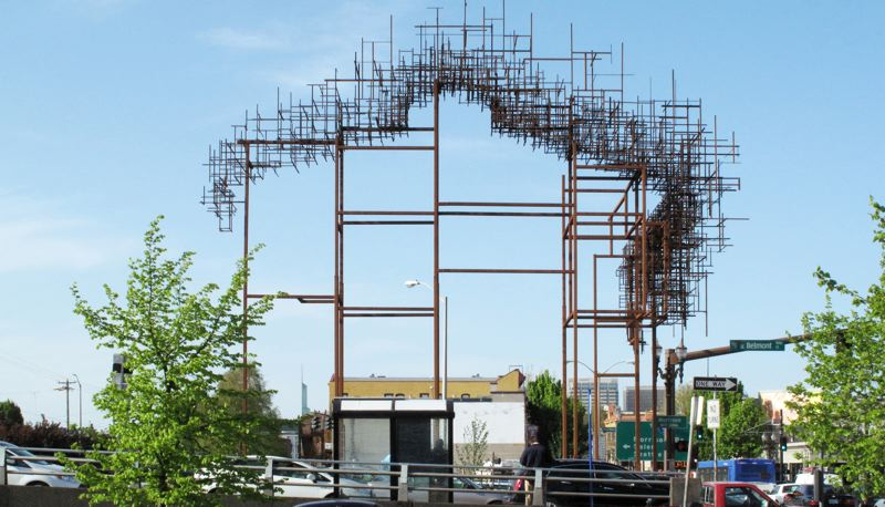 COURTESY PHOTO: RACC - Inversion: Plus Minus, sometimes dubbed Inversion +/-, is a pair of outdoor sculptures designed by artists and architects Annie Han and Daniel Mihalyo, set at the eastern ends of the Morrison and Hawthorne bridges. The Regional Arts & Culture Council provided funding for the works.