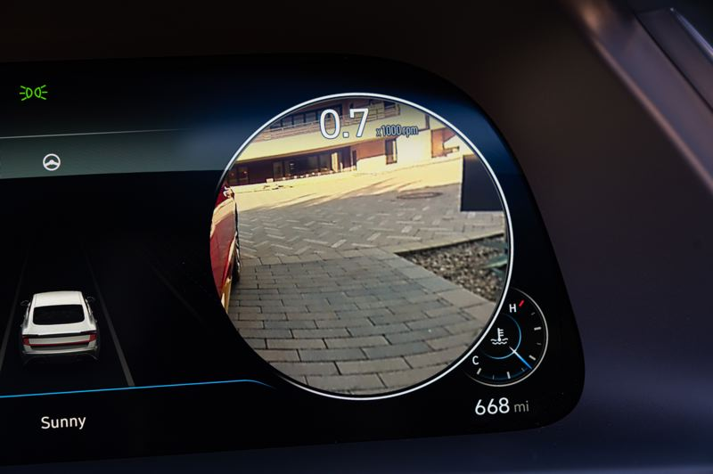 COURTESY HYUNDAI - Optional cameras display what is behind each side of the car when the turn signals are activated.
