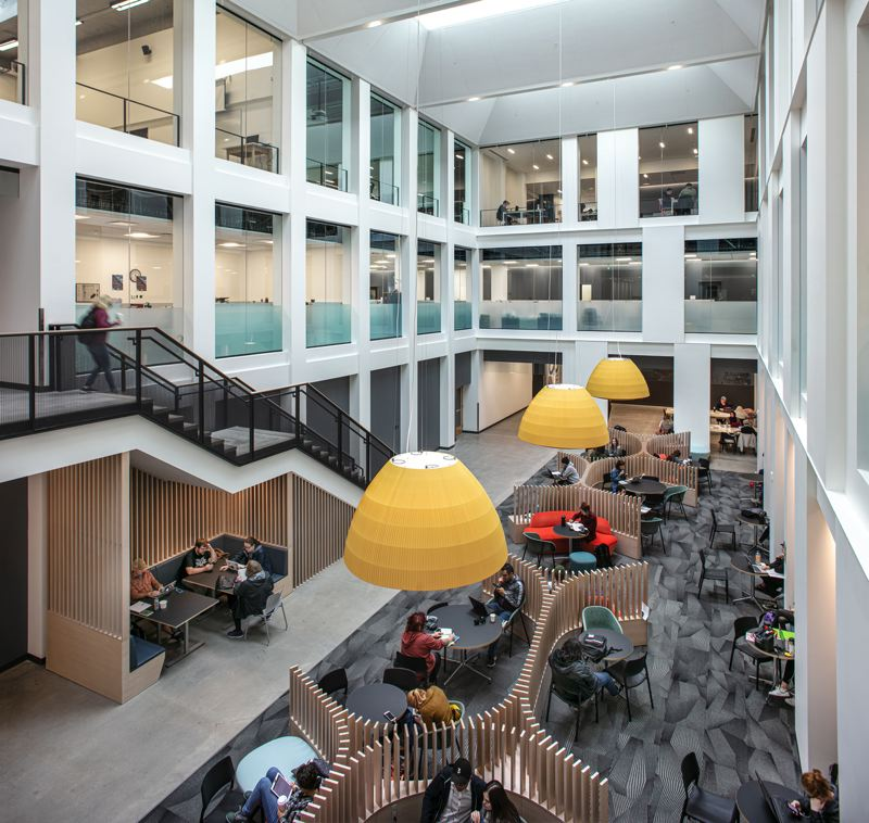 PMG: BRIAN LIBBY - At Portland State University, Maseeh Hall is the old Neuberger transformed into a light-filled hangout space surrounded by an administrative building and art gallery.