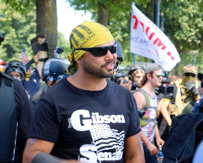 PMG PHOTO: ZANE SPARLING - Joey Gibson, leader of the Patriot Prayer movement, is pictured at a Portland protest wearing a t-shirt promoting his campaign for a U.S. Senate seat.