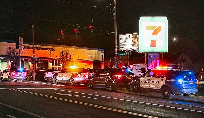 DAVID F. ASHTON - S.E. 17th Avenue in Sellwood was closed for an extended investigation on the evening of February 14, when a truck pulling into the 7-Eleven store parking lot ran over and killed a man who was sitting or lying in the driveway.