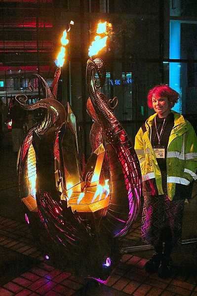 DAVID F. ASHTON - Southeast Portland artist Kay Sims showed off her flaming artwork called Crystal Evolution - it took herself and her partner a full year to make it.