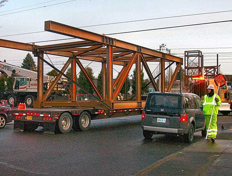 RITA A. LEONARD - The new south support tower for the new Gideon Street overcrossing arrived on a big rig on January 27.
