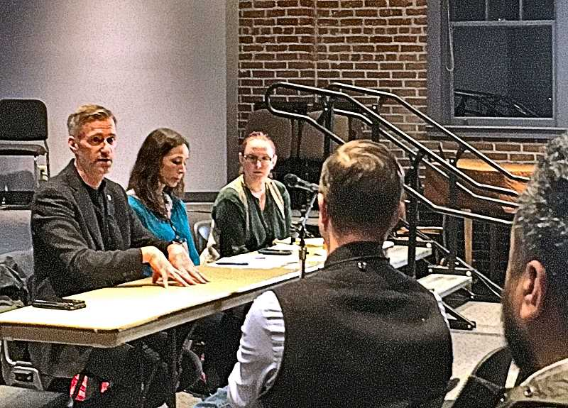 PAIGE WALLACE - Portland Mayor Ted Wheeler, at left, answered questions about neighborhood issues at the Creston-Kenilworth Neighborhood Associations January 27 meeting. He touched on homeless camps, affordable housing, and neighborhood associations - like this one.