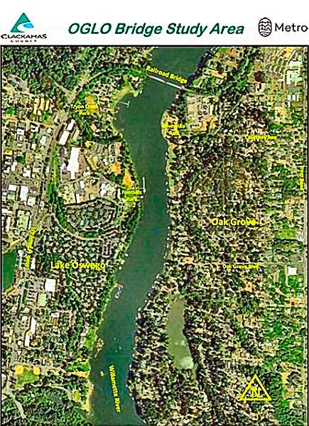 COURTESY OF METRO - Heres the map showing the small area being studied for a possible pedestrian/bike bridge across the Willamette between Lake Oswego and Oak Grove.