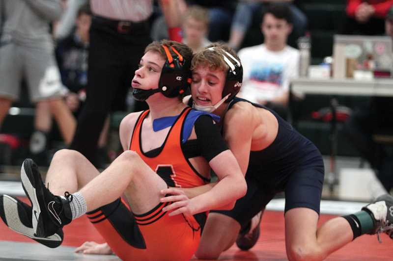 PMG PHOTO: PHIL HAWKINS - Banks' Hunter Smith wrestles during the 4A Special District 1 Regionals this past Friday and Saturday, Feb. 21-22, at North Marion High School in Aurora.