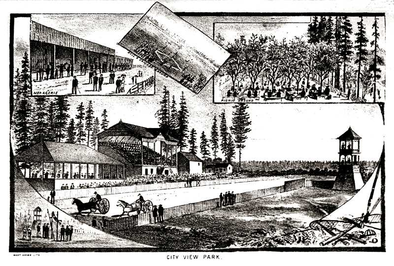 FROM THE JAN. 1, 1880, WEST SHORE MAGAZINE - Heres an illustration of Sellwoods City View Race Track in its heyday. While spectators enjoyed horse races here, there were many other activities - baseball games and cricket matches, boxing, track and field events, and tug of war matches among them. By 1890, the City View Race Track was one of 314 tracks operating across the United States.