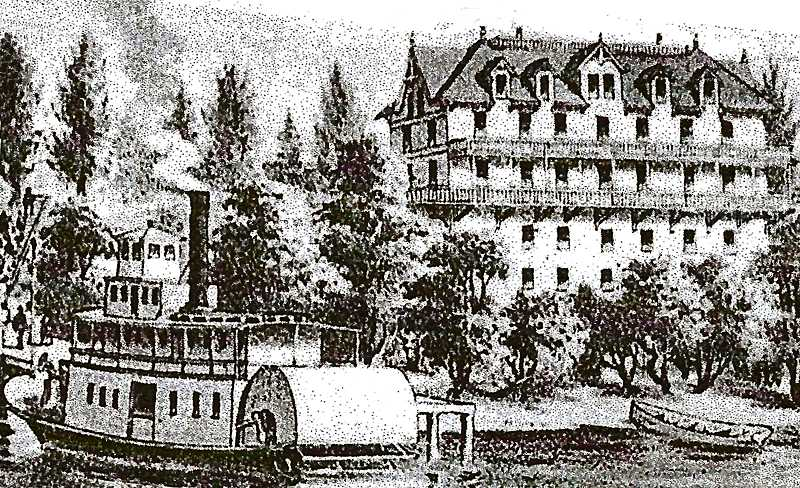 FROM OSWEGO HISTORY: OREGONS IRON DREAM, MARY GOODALL - Located just about a mile north of the town of Oswego (now Lake Oswego), across the river from Milwaukie, the glamorous five-story White House Road House and Race Track was where young men could gather for games, gambling, drinking, or being entertained by women - and certainly also for horse racing. It burned to the ground in 1904.