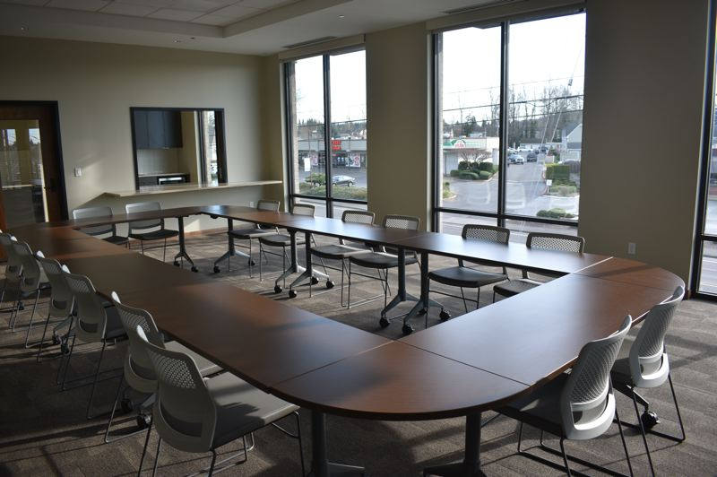 PMG PHOTO: SHANNON O. WELLS - The bright, spacious Community Room at Clackamas County Bank is available for community members and groups to rent for meetings and events.