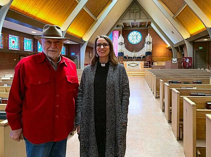 BECKY LUENING - Vestry member Bill Habel and Rector Andria Skornik show THE BEE the All Saints Episcopal Church sanctuary, which is to be the venue for a series of community music events organized by the Woodstock church beginning in April.