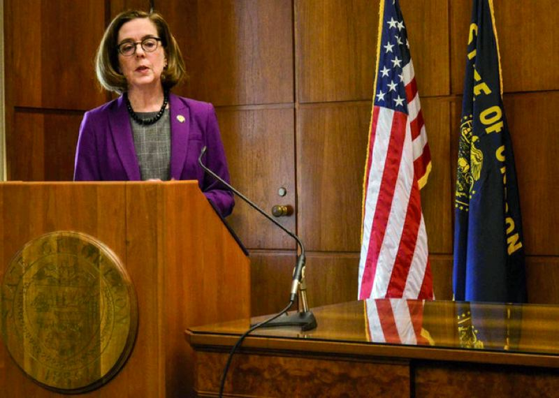 COURTESY PHOTO: CLAIRE WITHYCOMBE, OREGON CAPITAL BUREAU - Gov. Kate Brown addresses reporters Monday after Senate Republicans boycotted a Senate session and said they would stay away from the Capitol until their demands were met on climate change legislation.