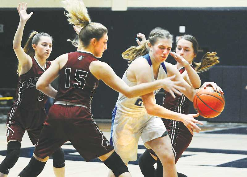 GRAPHIC PHOTO: GARY ALLEN - St. Paul senior guard Erin Counts was named Casco League player of the year at the culmination of the regular season Saturday.