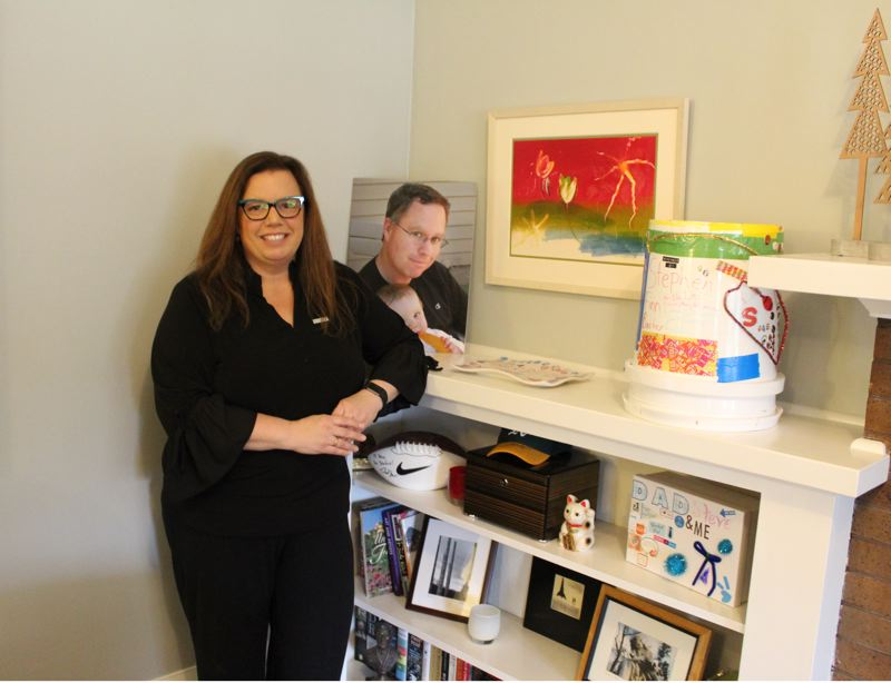 PMG: JOSEPH GALLIVAN - Leslie Barber founded the gift box Grief Warrior after  her 46-year-old husband Steve died of esophageal cancer. It is aimed at people who want to comfort grieving friends.