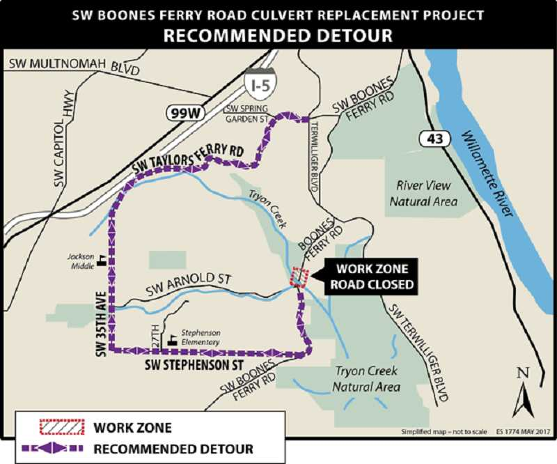 COURTESY MAP: PBOT - This is the detour that will go into effect on March 30, 2020.