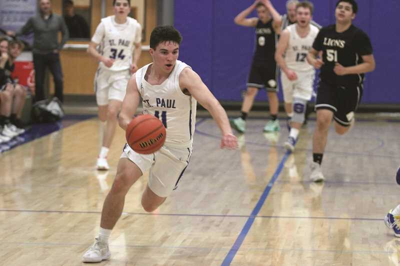 PMG PHOTO: PHIL HAWKINS - St. Paul's Gianni Grasso is one of six seniors to finish their high school basketball carers last week, joining T.J. Crawford, John Cacka, Taylor Faber, Hayden Scott and Jacob Coleman.