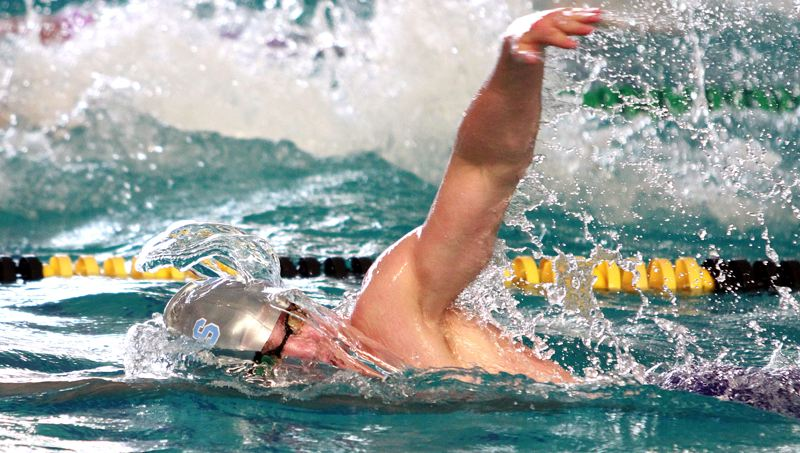 PMG PHOTO: MILES VANCE - Lakeridge senior Jay Heymann makes waves while racing to a second-place finish in the boys 200-yard freestyle during the Class 6A state meet at Tualatin Hills Aquatic Center on Saturday, Feb. 22.
