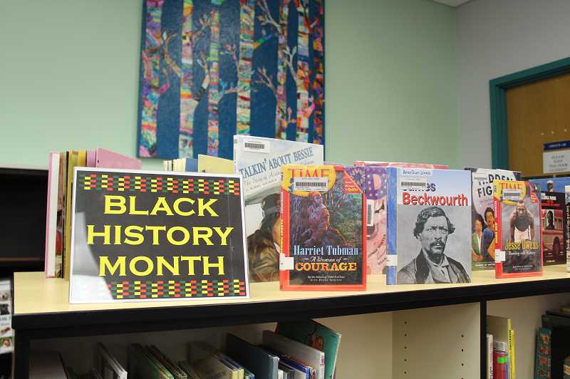 PMG PHOTO: ASIA ALVAREZ ZELLER - Books about prominent black figures were displayed at River Grove Elementary Schools library for Black History Month.