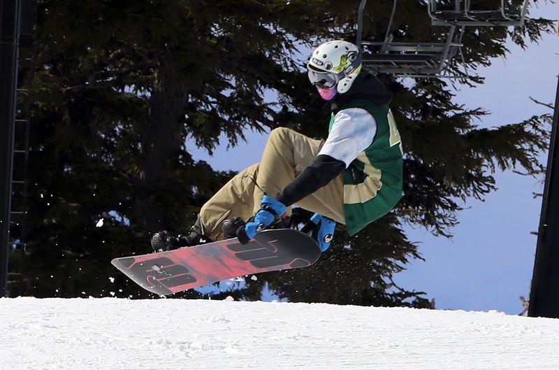 COURTESY PHOTO - West Linn senior Peter Moller catches some air on his way to finishing first in the Three Rivers League half pipe competition at Mt. Hoodd on Saturday, Feb. 22.