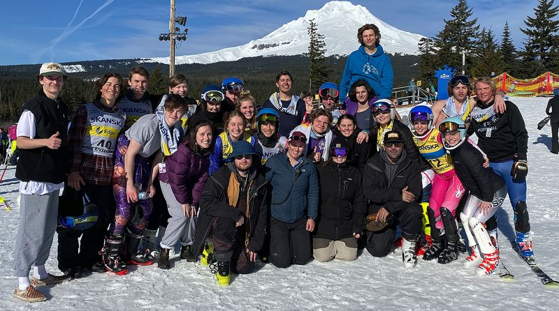 COURTESY PHOTO - The Lakeridge boys and girls ski teams gather together to celebrate their Three Rivers League combined championship following the TRL slalom at Mt. Hood's SkiBowl on Saturday, Feb. 21.