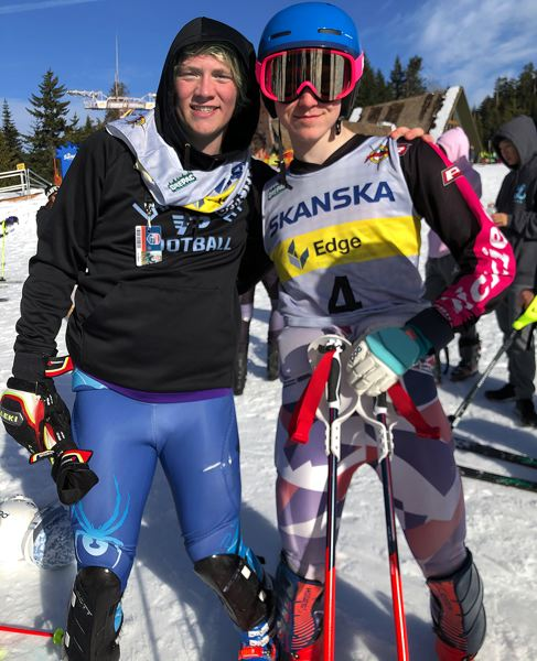 COURTESY PHOTO - Lakeridge's Campbell Brown (right) and Ty Glumbik pose together after finishing 1-2 in the Three Rivers League slalom on Saturday, Feb. 22.