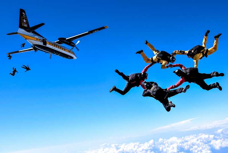 SUBMITTED PHOTO - The U.S. Army's Golden Knights parachute team will perform at the 20th Annual Airshow of the Cascades in August.