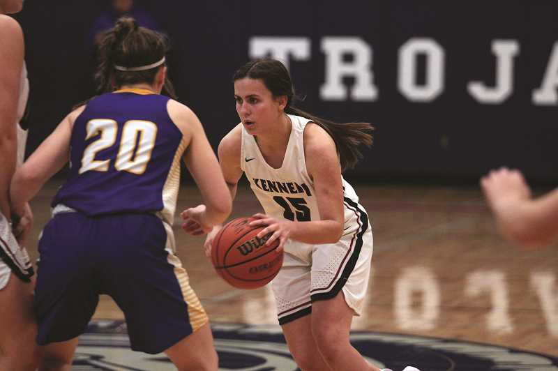 PMG PHOTO: PHIL HAWKINS - Kennedy's Hailey Arritola scored 12 of the Trojans first 24 points and finished with 14 in the team's win over Gervais on Saturday.