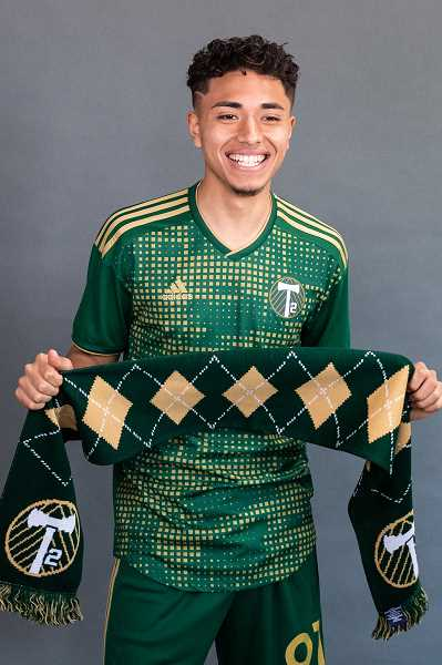 PMG PHOTO: CHRISTOPHERE OERTELL - T2 forward and Cornelius native Gio Calixtro gets some promo photos taken during media day at the Timbers Training Facility in Beaverton, Ore., on Tuesday, Feb. 25, 2020.