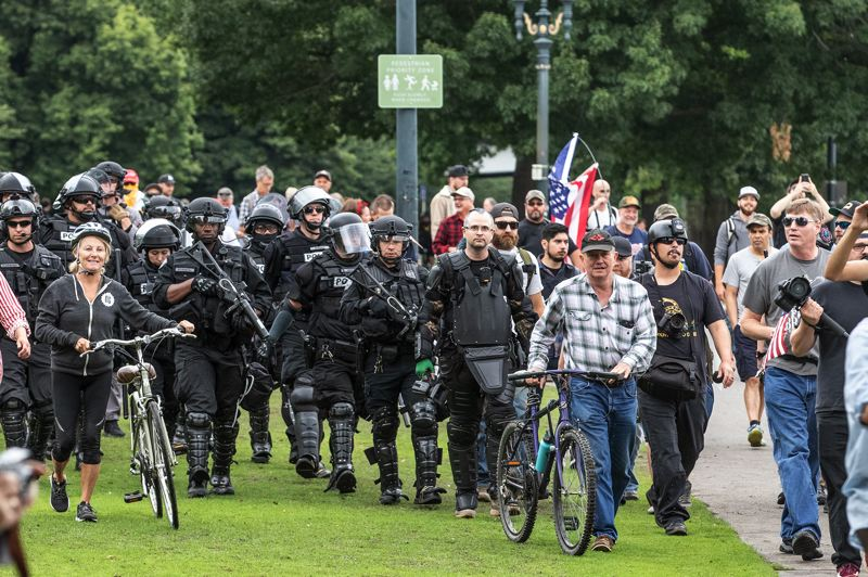PAMPLIN MEDIA GROUP/JON HOUSE - The ongoing clashes between far-right activists and counter-protestors have cost the city of Portland millions of dollars in policing expenses.