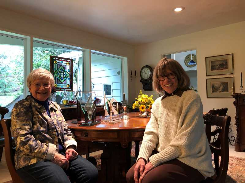 PMG PHOTO:  BARB RANDALL  - Norma Jean Germond, left, and Sonja Kollias are members of the Clackamas County League of Women Voters, and invite all interested people to join the organization.