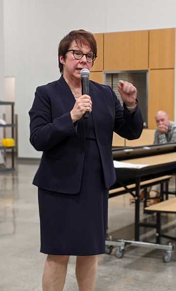 PMG PHOTO: COURTNEY VAUGHN - Sue Rieke-Smith, superintendent of Tigard-Tualatin School District, speaks during a community presentation about the Student Success Act. Earlier this week, the superintendent said she wants to see more areas off limits to ICE agents.