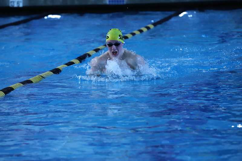 COURTESY PHOTO: BILL WILSON - St. Helens junior star Jake Maher took third place in the 100-yard breaststroke at the Class 5A state meet.