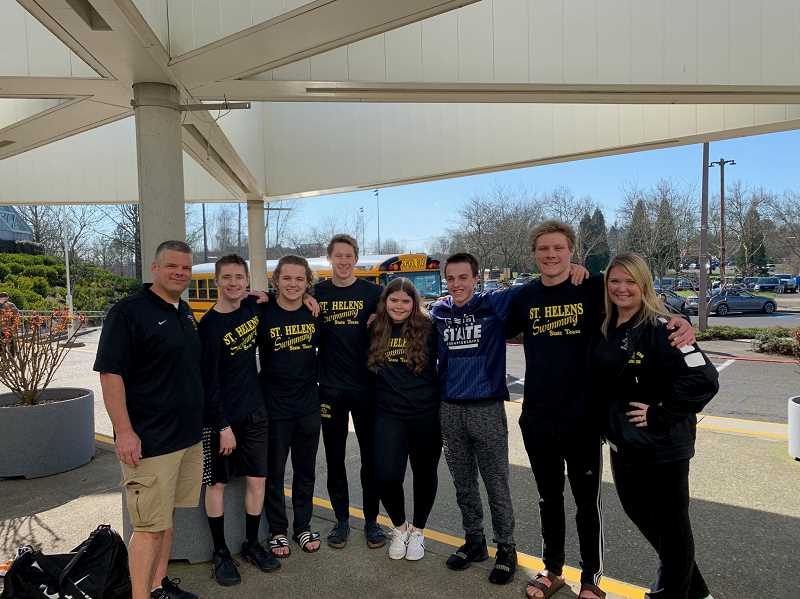 COURTESY PHOTO: CHELSIE ORR - Coach Jared Plahn, Andrew Pletsch (relay alternate), Nick Brooks, Jake Maher, Team Manager Sarah Bartocci, Isaac Reed, Ryan Maher and head coach Chelise Orr had a stellar day at the 5A state meet.