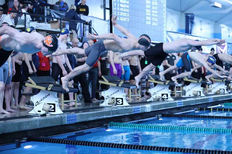 COURTESY PHOTO: BILL WILSON - The Scappoose boys swimming team had a number of standout showings in the relay events at the 5A state meet.