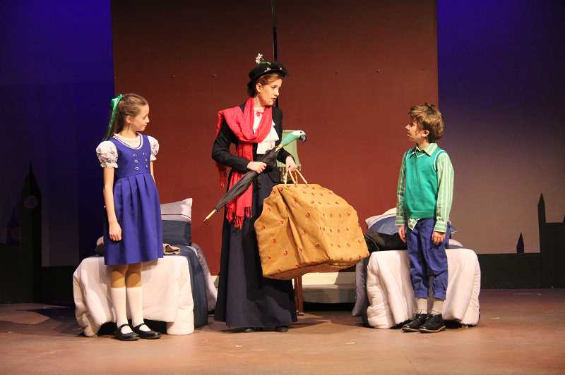 PHOTO CREDIT: JENN MCFARLING - Shannon Ralphe (left) and Kendyl Willems (right) play Jane and Michael Banks in Mary Poppins Jr. Theyre joined with Rachel Newton (middle) who plays Mary Poppins.