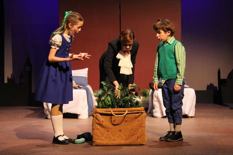 PHOTO CREDIT: JENN MCFARLING - Young Jane and Michael Banks have sent many nannies packing until Mary Poppins arrives on their doorstep. Mary Poppins Jr. runs through March 8 at Theatre In the Grove.