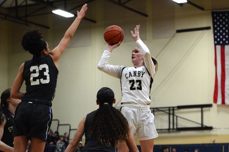 PMG PHOTO: DEREK WILEY - Canby senior Nicole Mickelson scored 27 points Friday night against St. Mary's Academy.