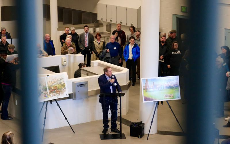 PMG PHOTO: ZANE SPARLING - Local businessman Jordan Schnitzer speaks inside what he says will one day be a family dorm for the Bybee Lakes Hope Center on Saturday, Feb. 29.