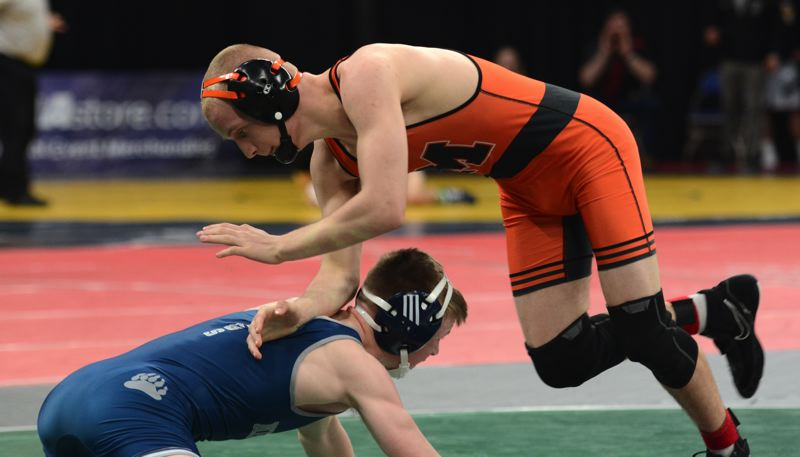 PMG PHOTO: DEREK WILEY - Molalla sophomore Christian Roberts won two matches at the Class 4A wrestling state championships.