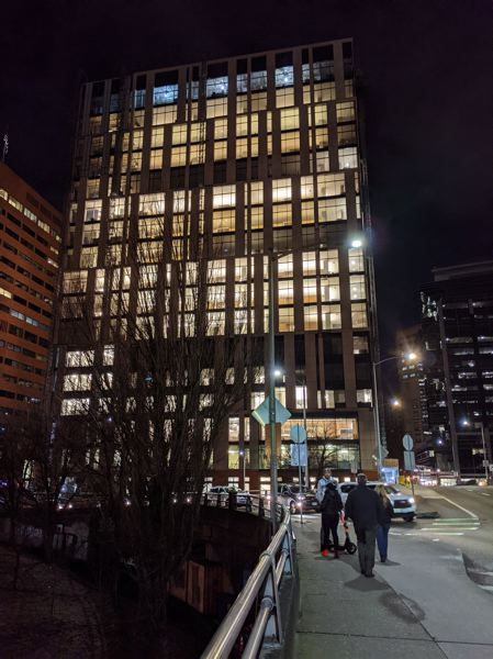 PMG: JOSEPH GALLIVAN - The new Multnomah County Central Courthouse is lit. It opens this fall.