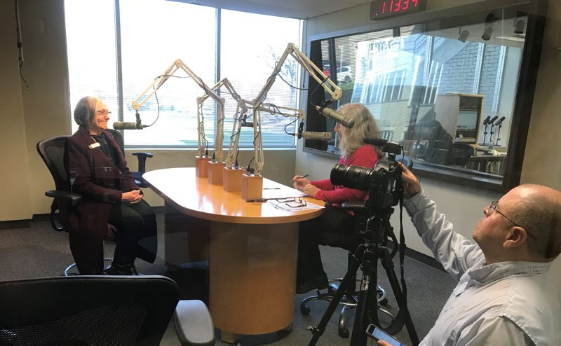COURTESY: BESTHQ - Long-time local business leader and leadership coach Lyn Cikara, seen here while participating in a podcast at a BESThq event held at Pamplin Media Group's studio in Portland, is remembered by colleagues as a mentor and adviser. Cikara passes away from cancer this past January.