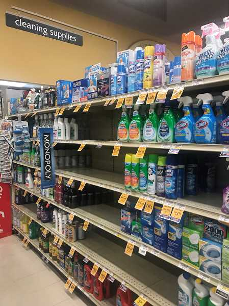 PMG PHOTO: CLARA HOWELL  - Safeway shelves become bare as customers flock to the store to purchase cleaning supplies and hand sanitizer in response to the coronavirus outbreak.