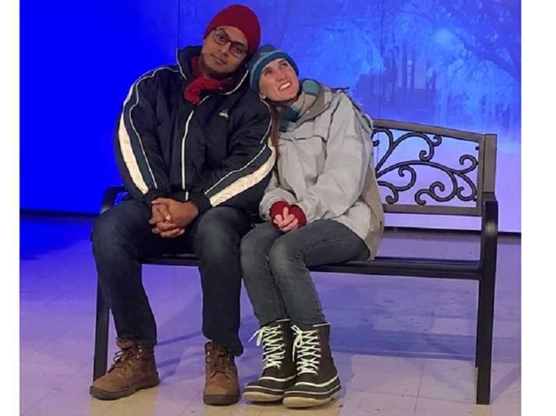 COURTESY PHOTO - Arun Kumar and Kendra Munroe rehearse a poignant scene from Rising Phoenix Theater's production of 'Almost, Maine,' opening March 5.